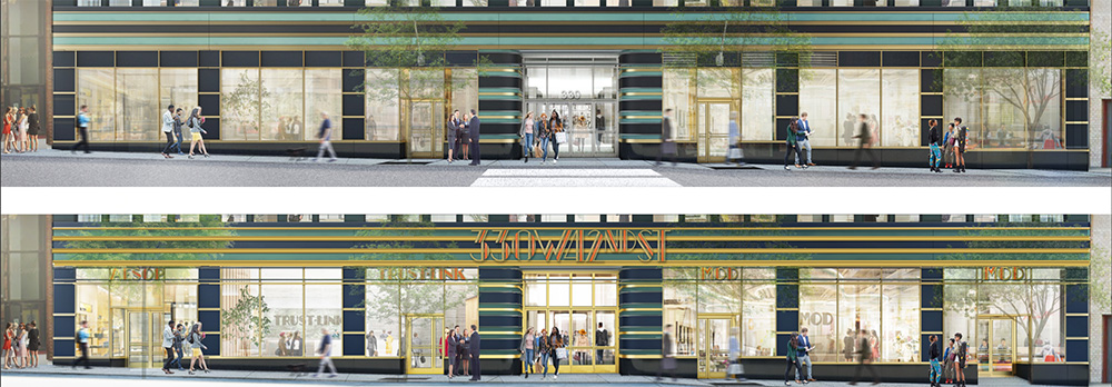 Rendering of existing conditions (top) and planned signage (bottom) along 42nd street at 330 West 42nd Street - MdeAS Architects
