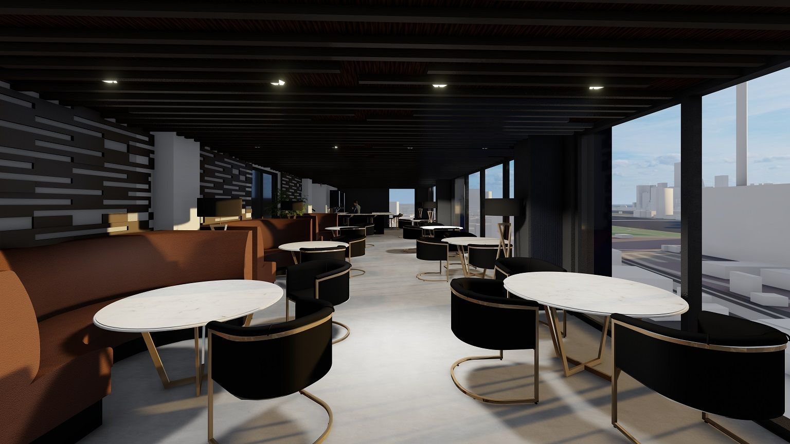 Rendering of indoor lounge and dining areas at 37-24 10th Street - Node Architecture, Engineering, Consulting P.C.