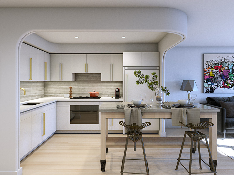 Rendering of model kitchen at The Avant - Bluarch; Delshah Capital