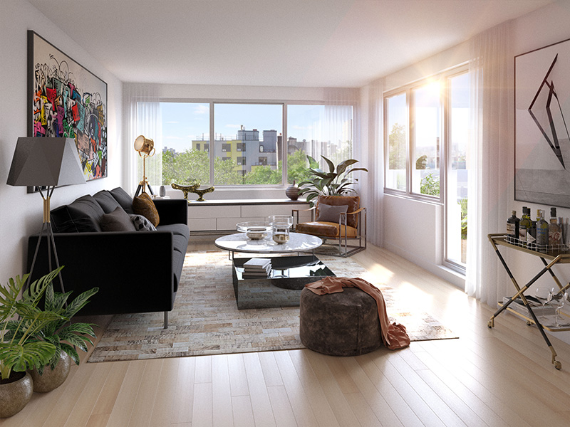 Rendering of model living room at The Avant - Bluarch; Delshah Capital