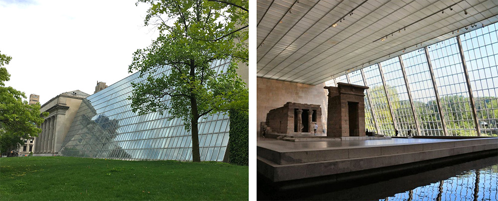 Sloped glass facade existing conditions at the Temple of Dendur - Beyer Blinder Belle
