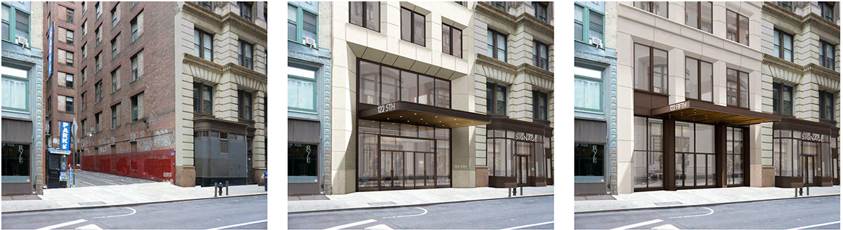 17th Street elevation of the existing (left), previously proposed (center), and currently prosed (right) property at 122 Fifth Ave - The Bromley Companies; Studios Architecture
