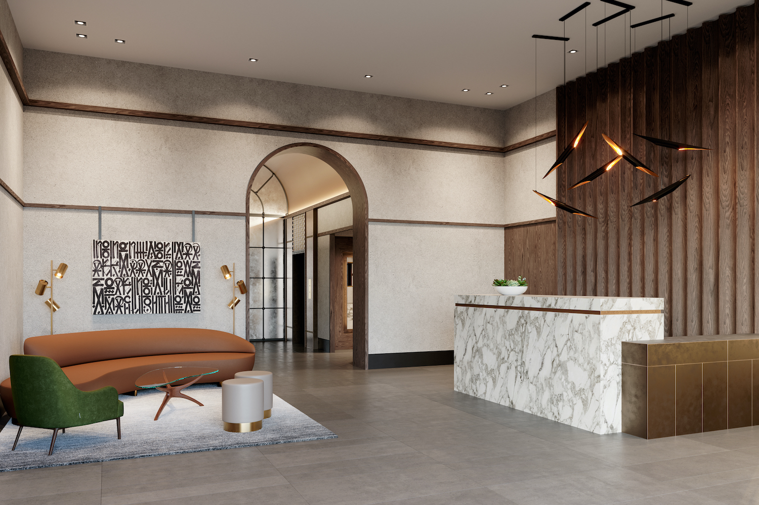 Lobby at The Astor LIC, at 36-20 Steinway Street in Queens