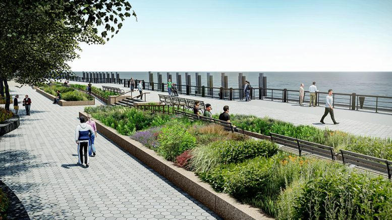 Rendering of public areas created by the Lower Manhattan Coastal Resiliency Project in The Battery - Stantec
