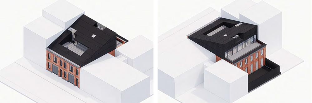 Aerial renderings of 410-412 Waverly Avenue - Adjaye Associates