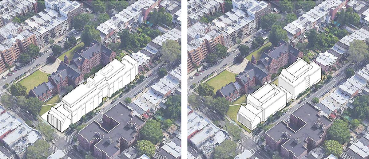 Aerial view of developed conditions at 959 Sterling Place; Previous (left) and revised (right) - Morris Adjmi Architects; Hope Street Capital