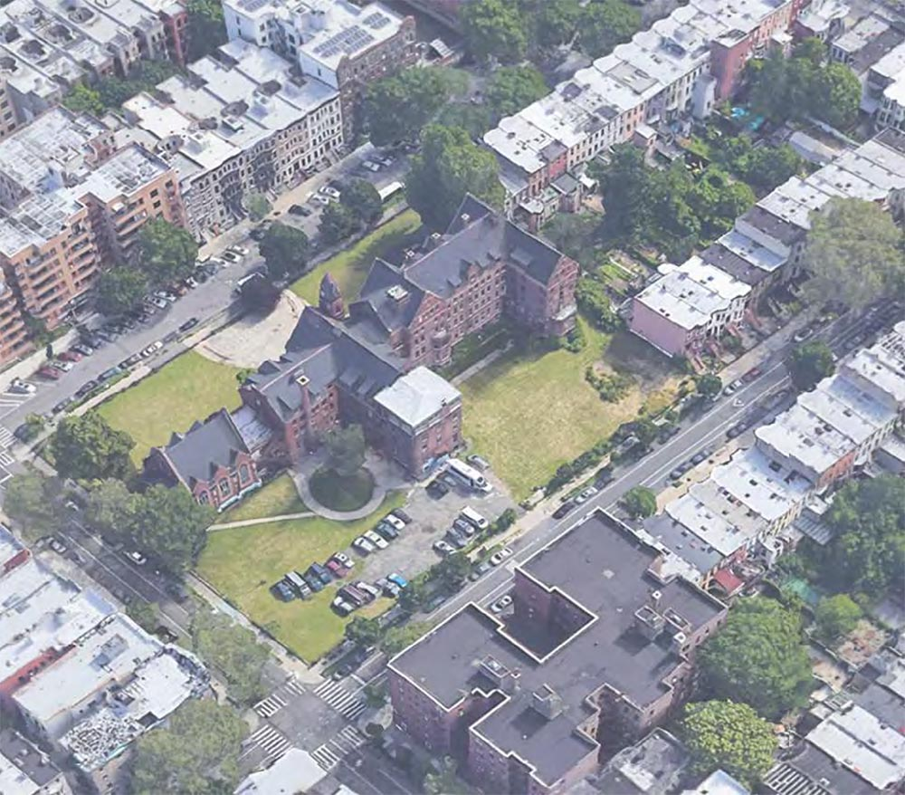 Aerial view of undeveloped conditions at 959 Sterling Place - Morris Adjmi Architects; Hope Street Capital