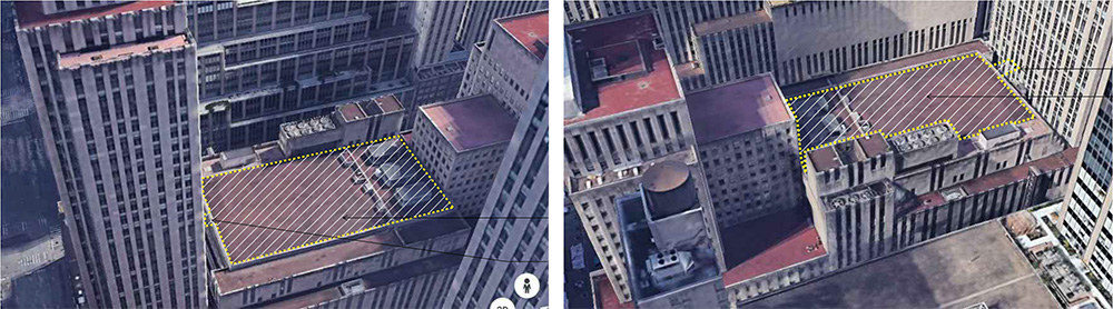 Aerial view of undeveloped conditions at Radio City Music Hall roof - Courtesy of Tishman Speyer