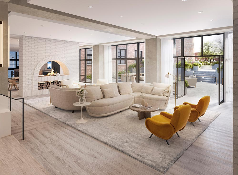 Amenity lounge at Wonder Lofts - Prism Capital Partners; MVMK Architecture + Design