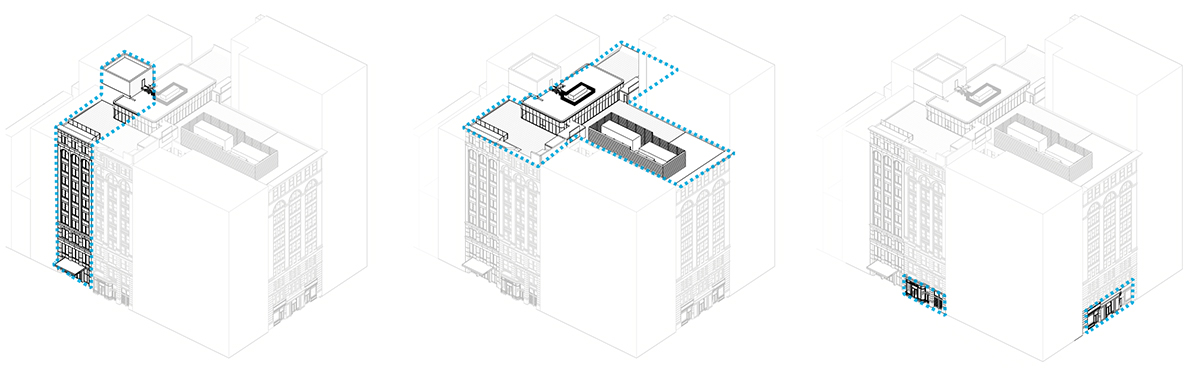 Axonometric rendering of the existing (left), previously proposed (center), and currently prosed (right) property at 122 Fifth Ave - The Bromley Companies; Studios Architecture