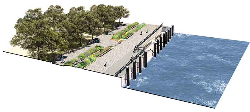 Concept rendering of the Lower Manhattan Coastal Resiliency Project in The Battery - Stantec
