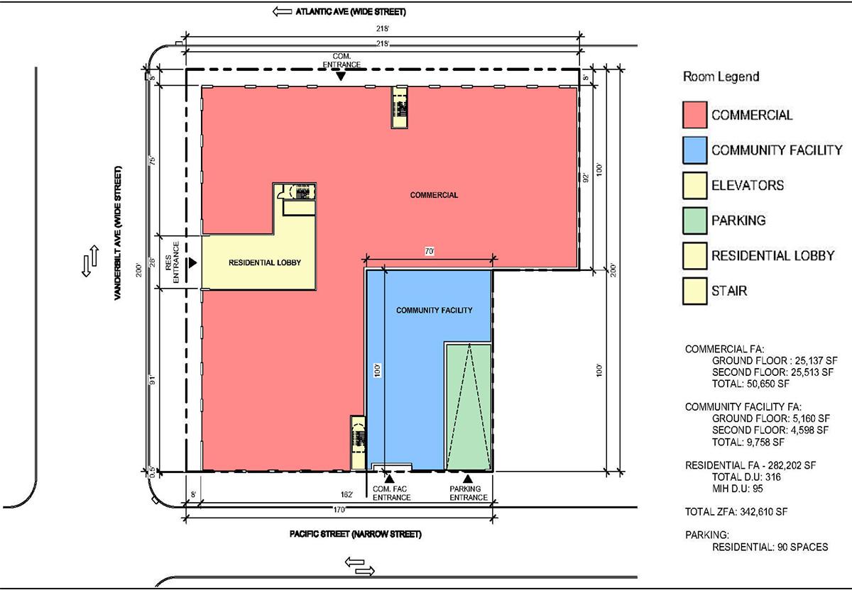 Ground floor plan of proposed structure at 840 Atlantic Avenue IMC Architecture; Vanderbilt Atlantic Holdings, LLC