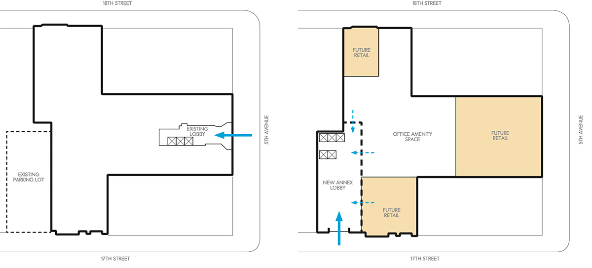 Ground floor plan of the existing (left) and prosed (right) property at 122 Fifth Ave - The Bromley Companies; Studios Architecture