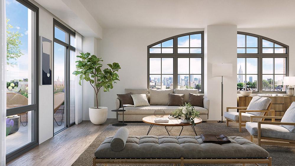 Model living room at Wonder Lofts - Prism Capital Partners; MVMK Architecture + Design