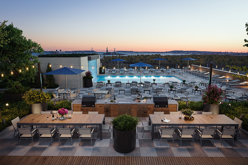 Outdoor recreation and pool deck at The Vantage - Fisher Development Associates