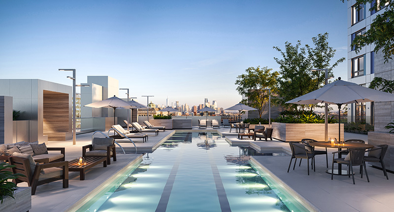 Outdoor pool and terrace at Journal Squared Tower 2 - Qualls Benson and VMI