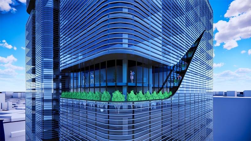 Peripheral terrace in The Halo - INOA Architecture