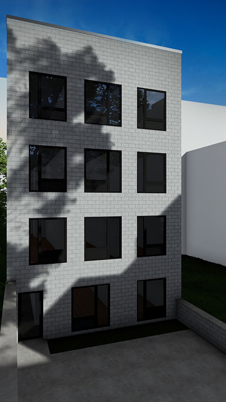 Rear view of 557 East 161st Street - Node Architecture, Engineering, Consulting