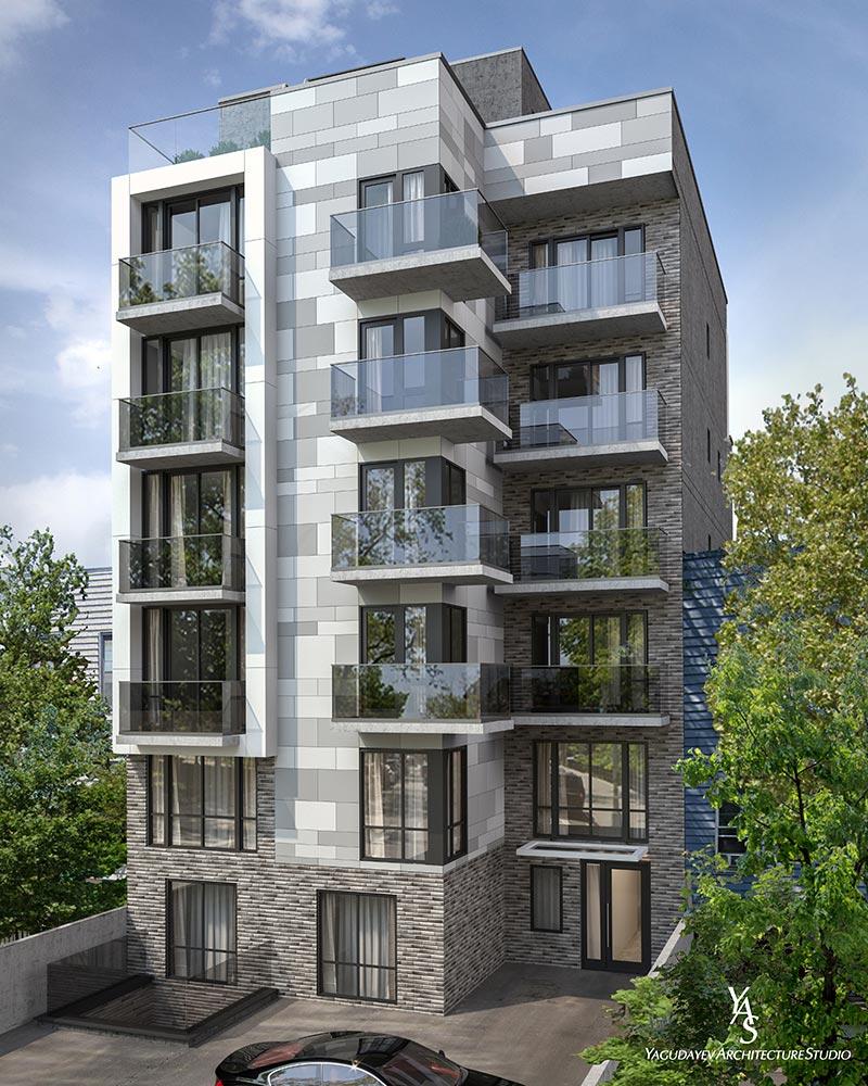 Rendering illustrates the rear exposure of 107 Schaefer Street - Yagudayev Architecture