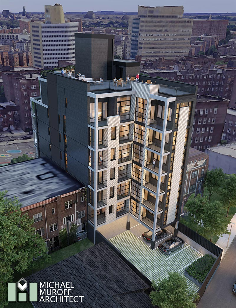 Rendering illustrates rear view of 64-08 Wetherole Street - Michael Muroff Architect