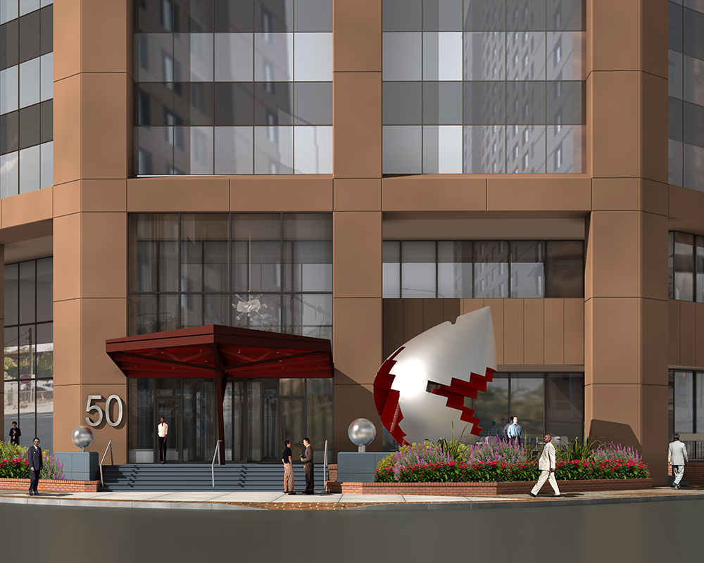 Rendering of Fragments of Something Bigger at 50 Main Street - Georgi Minchev; Ginsburg Development Companies (GDC)