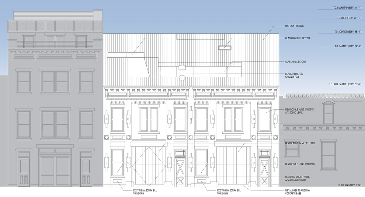 Rendering of front elevation with vertical addition at 410-412 Waverly Avenue - Adjaye Associates