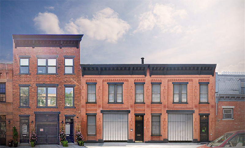 Rendering of front elevation without vertical additions at 410-412 Waverly Avenue - Adjaye Associates