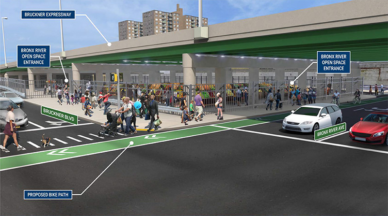 Rendering of public spaces created by the Hunts Point Access Improvement Project - NYS Department of Transportation