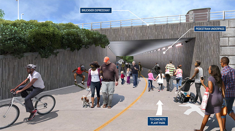 Rendering of the Garrison Park Pedestrian Underpass created by the Hunts Point Access Improvement Project - NYS Department of Transportation