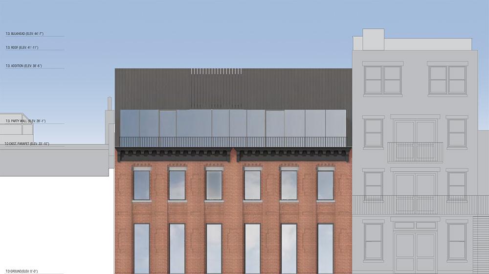 Renderings of rear elevation at 410-412 Waverly Avenue - Adjaye Associates