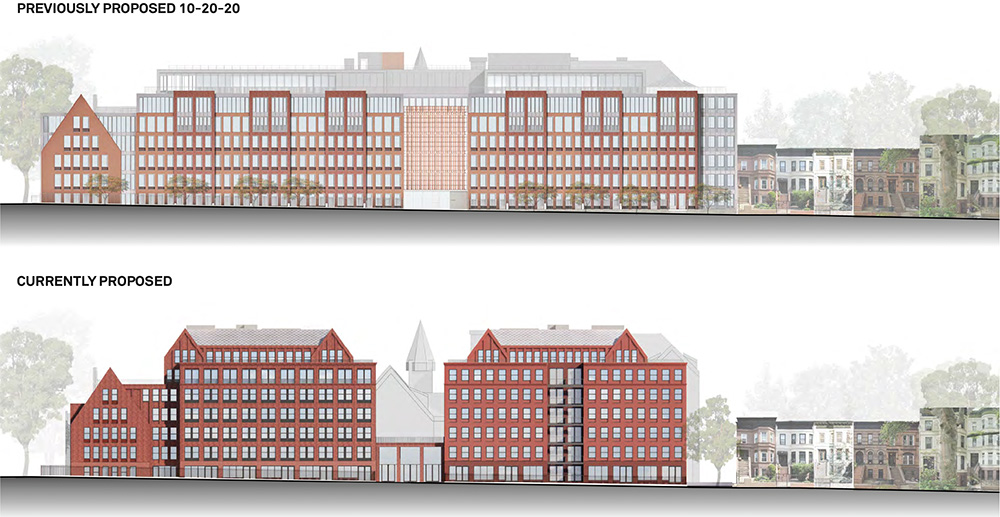 Revised (bottom) and original (top) renderings of front facade at 959 Sterling Place - Morris Adjmi Architects; Hope Street Capital