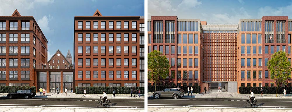Revised (left) and original (right) renderings of front facade at 959 Sterling Place - Morris Adjmi Architects; Hope Street Capital