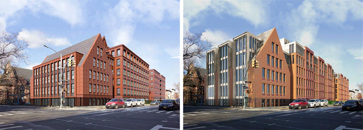 Revised rendering (left) and original view (right) of 959 Sterling Place - Morris Adjmi Architects; Hope Street Capital