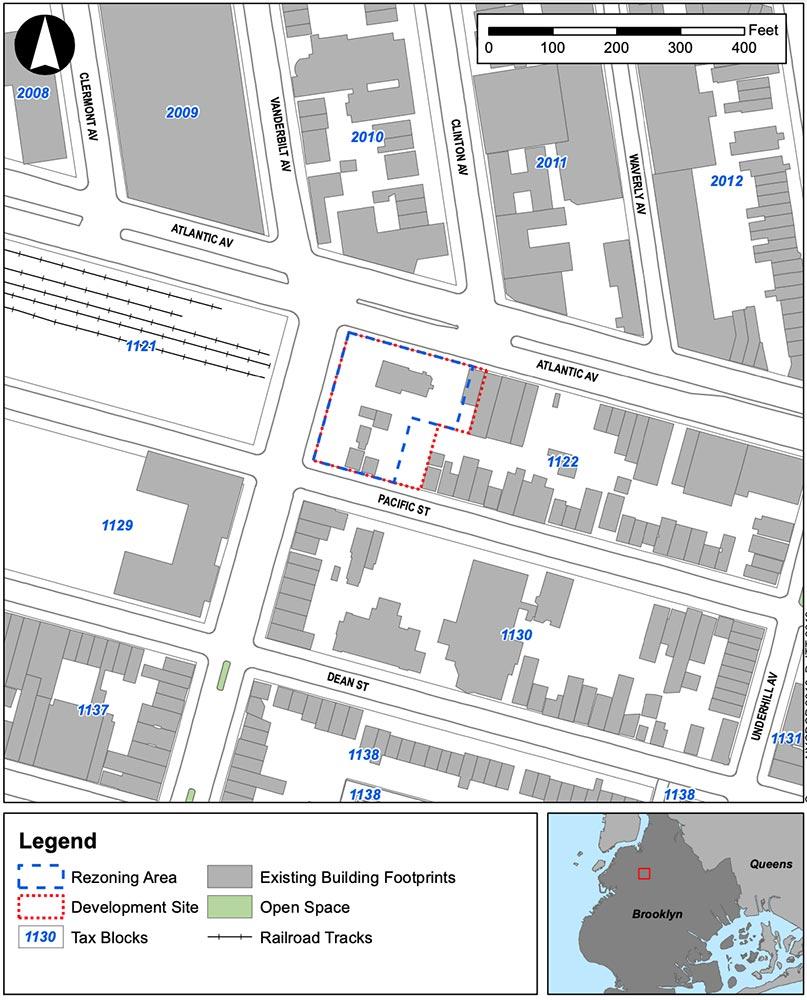 Site map of development site and rezoned areas surrounding 840 Atlantic Avenue - IMC Architecture; Vanderbilt Atlantic Holdings, LLC