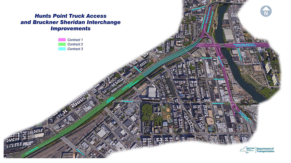 Site map of the Hunts Point Access Improvement Project; Phase One (Pink), Two (Green), Three (Blue) - NYS Department of Transportation