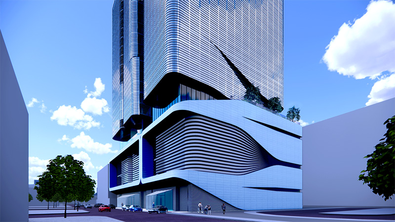Street-level rendering of lower level podium and main entrance of The Halo - INOA Architecture