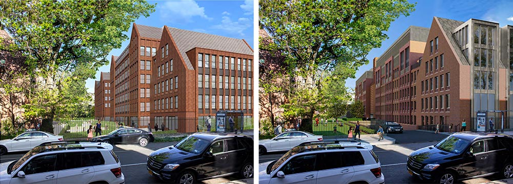 View from New York Avenue of revised (left) and original (right) facade at 959 Sterling Place - Morris Adjmi Architects; Hope Street Capital