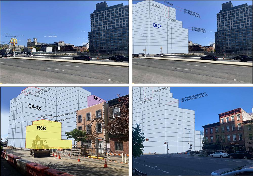 View of undeveloped conditions and proposed development at 840 Atlantic Avenue - IMC Architecture; Vanderbilt Atlantic Holdings, LLC