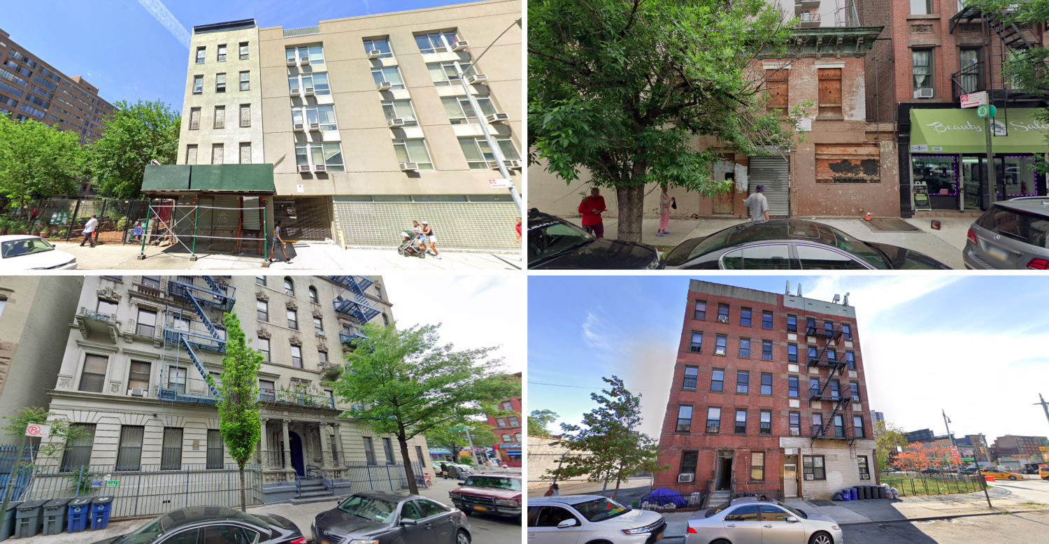 53 East 110th Street, 201 East 120th Street, 204 West 121st Street, and 304 East 126th Street in Harlem, via Google Maps
