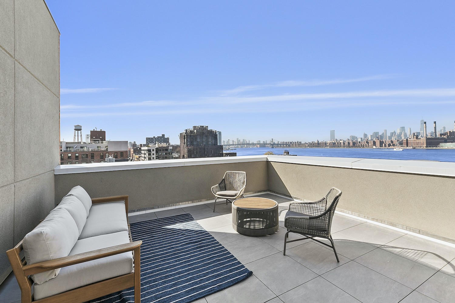 Rooftop deck at 144 West Street in Greenpoint, Brooklyn.