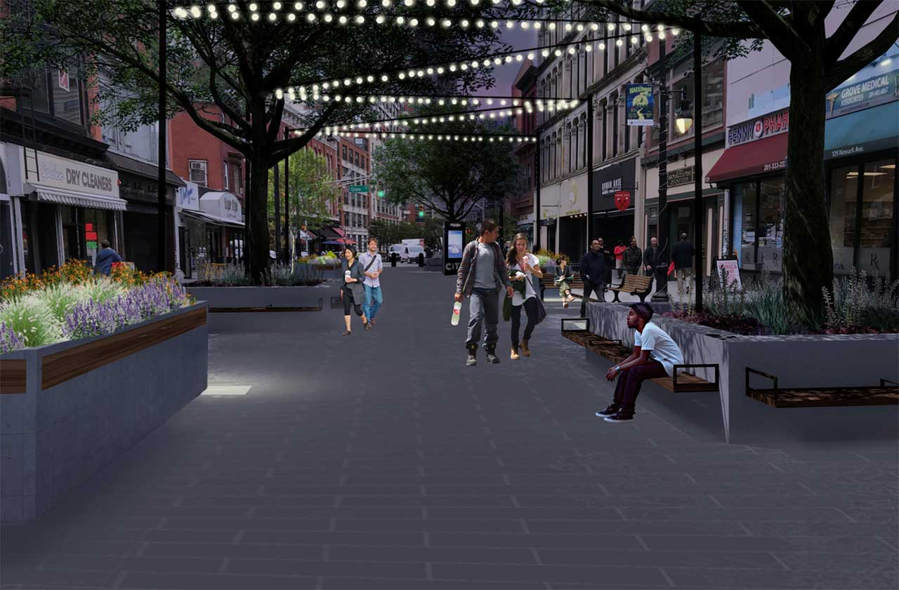 Evening rendering of Newark Avenue Pedestrian Plaza - Maser Consulting