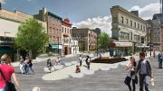 Rendering of Newark Avenue Pedestrian Plaza - Maser Consulting