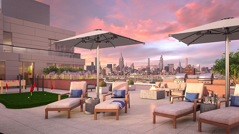 Rooftop lounge area at Stella LES - BLDG Management Co.; Rotwein + Blake Architects