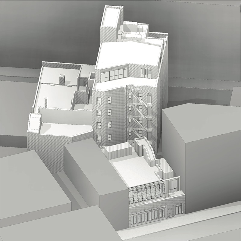Alternative aerial rendering of 63-65 Gansevoort Street - BKSK Architects