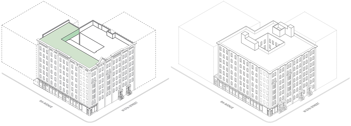 Axonometric rendering of existing conditions (left) and scenario three at The Windemere - Morris Adjmi Architects