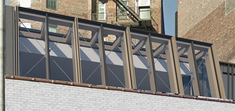 Close-up rendering of skylight addition at 63-65 Gansevoort Street - BKSK Architects