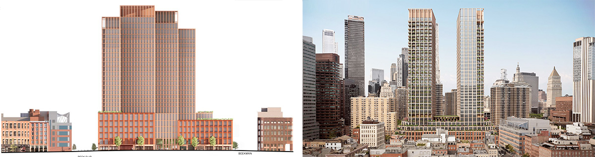Current renderings of Pearl Street elevation (left) versus previous renderings of East elevation (right) - Howard Hughes Corporation; Skidmore, Owings & Merrill (SOM)