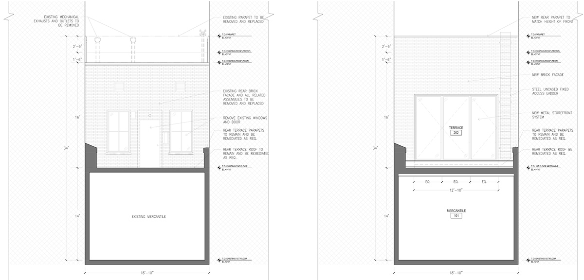 Drawing illustrates existing (left) and proposed (right) elevation at 406 West 13th Street - Format Architecture Office