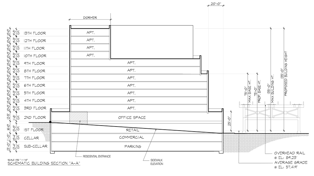 Elevation diagram of proposed property at Roosevelt Avenue and 63rd Street - Aufgang Architects