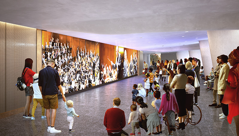 Interior renderings media wall at the new David Geffen Hall - Tod Williams; Billie Tsien Architects